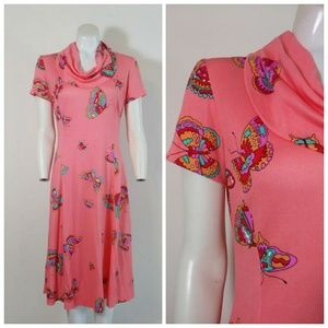 Vintage 70s mod psychedelic Mauric butterfly dress